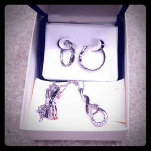 White gold 3 piece jewelry set